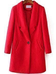Lapel Single Button Woolen Red Coat