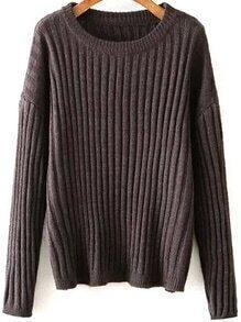 Round Neck Chunky Knit Grey Sweater