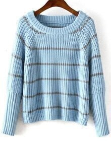 Bat Sleeve Striped Blue Sweater