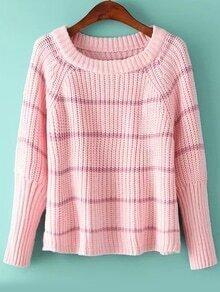 Bat Sleeve Striped Pink Sweater