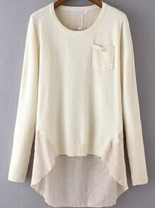 Dip Hem Contrast Hem Pocket Beige Sweater