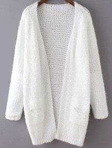 Open-Knit Shaggy Pockets White Cardigan