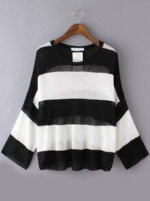 Long Sleeve Striped Open-Knit Black Sweater