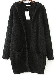 Hooded Shaggy Pockets Black Coat