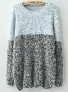 Blue Grey Round Neck Shaggy Knit Sweater