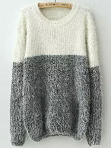 White Grey Round Neck Shaggy Knit Sweater