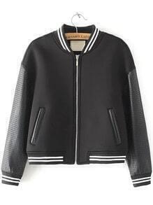 Black Stand Collar Hollow Crop Jacket