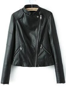 Black Stand Collar Oblique Zipper Crop Jacket
