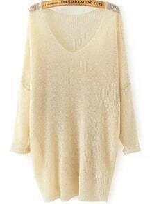 Beige V Neck Long Sleeve Knit Loose Sweater