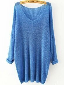 Blue V Neck Long Sleeve Knit Loose Sweater