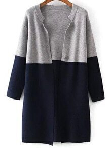 Grey Navy Long Sleeve Loose Knit Cardigan