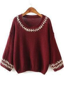 Wine Red Round Neck Embroidered Batwing Knit Sweater