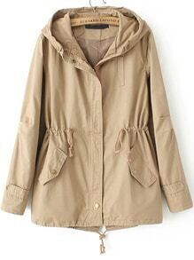 Khaki Hooded Drawstring Pockets Trench Coat