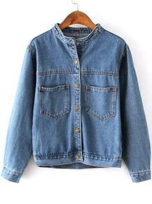 Blue Stand Collar Pockets Crop Denim Coat