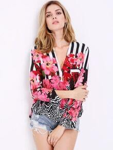 Multicolor Long Sleeve V Neck Floral Blouse