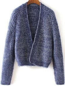 Open Front Chunky Knit Blue Cardigan
