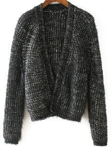Open Front Chunky Knit Black Cardigan