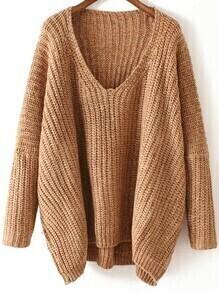 V Neck Chunky Knit Khaki Dolman Sweater