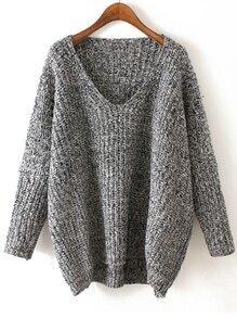 V Neck Chunky Knit Black And Grey Dolman Sweater