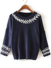 Knit Crochet Slit Back Navy Sweater