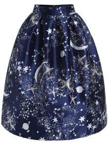 Stars Print Zipper Skirt