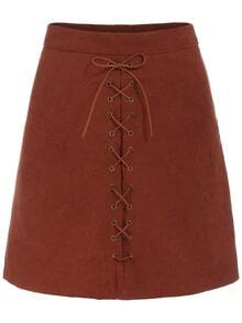 Lace Up Suede A-Line Skirt