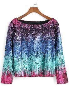 Boat Neck Sequined Top