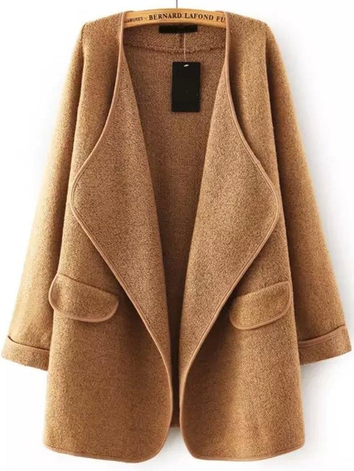 黃褐色 翻領 長袖 寬鬆 毛衣 外套