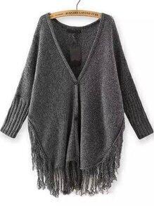 Dark Grey V Neck Buttons Knit Tassel Cardigan