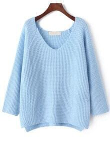 V Neck Dip Hem Pale Blue Sweater