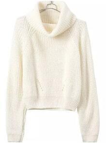Turtleneck Crop Beige Sweater