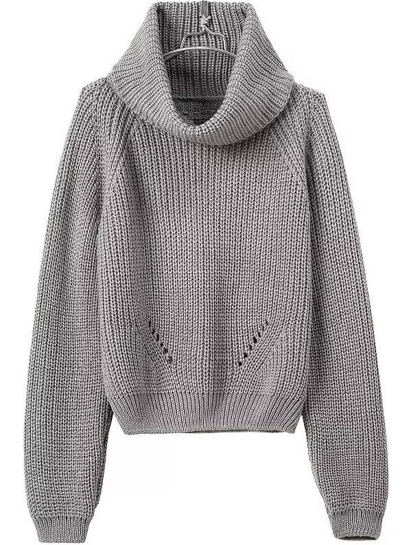 Turtleneck Crop Grey Sweater