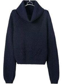 Turtleneck Crop Navy Sweater