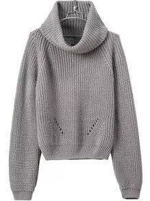 Turtleneck Crop Grey Sweater