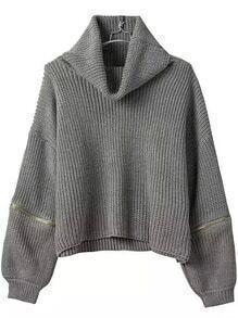 Turtleneck Zipper Grey Sweater