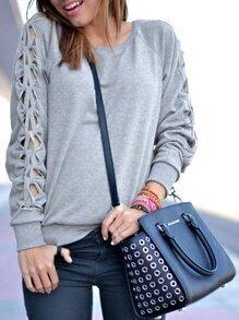 Grey Long Sleeve Hollow Sweatshirt