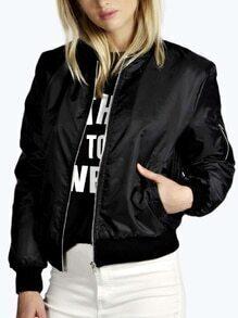 Stand Collar Zipper Black Jacket