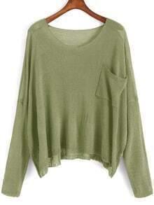 Scoop Neck Pocket Green Sweater