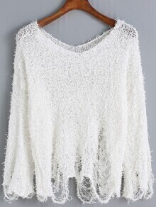 V Neck Shaggy Ripped Sweater