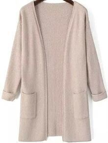Open Front Pockets Nude Cardigan