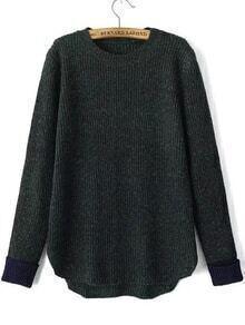 Contrast Cuff Dip Hem Green Sweater