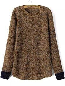 Contrast Cuff Dip Hem Coffee Sweater