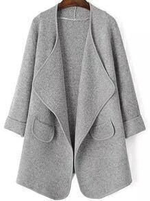Drape Front Pockets Grey Coat