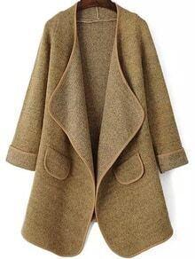 Drape Front Pockets Khaki Coat