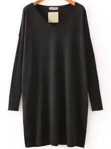 V Neck Knit Black Dress