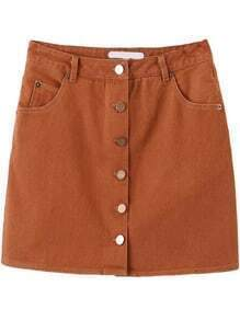 Single Breasted A-Line Khaki Skirt