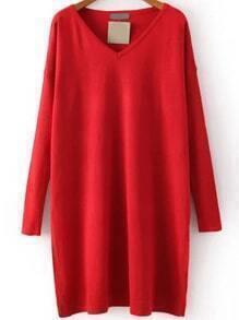 V Neck Knit Red Dress