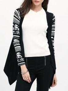 Black Geometric Print Drape Front Knit Cardigan