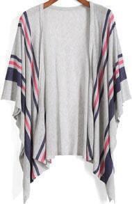 Grey Kimono Sleeve Striped Knit Cardigan