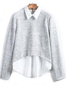 Grey Lapel Long Sleeve Knit Sweater